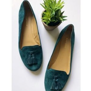 Shoes - Cute NW teal Suede tassel loafer flats 7